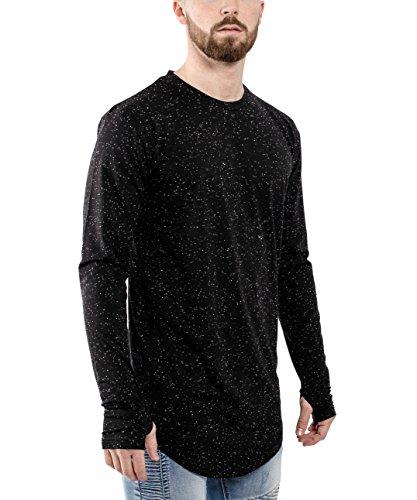 ... Phoenix Oversize Round Longsleeve T-Shirt Herren Langarm Longshirt  Abgerundet Schwarz-Melliert ...