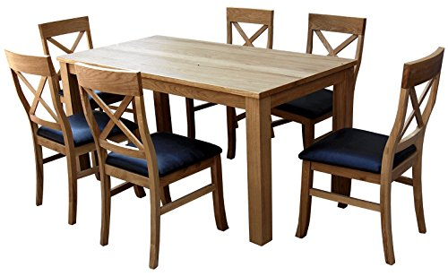 solid oak Sleek Table and 6 Cross back Chairs