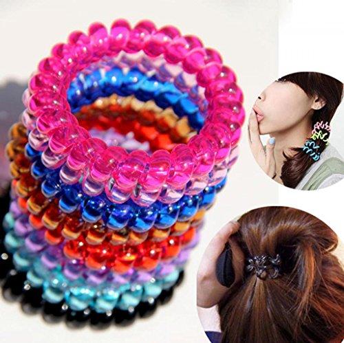 Huayang Frauen Mädchen Gummireif Stretchy Pferdeschwanz Inhaber Telefon Wire Hair Bands 50 Stücke(zufällige Farbe) (Schäden Pferdeschwanz Inhaber)