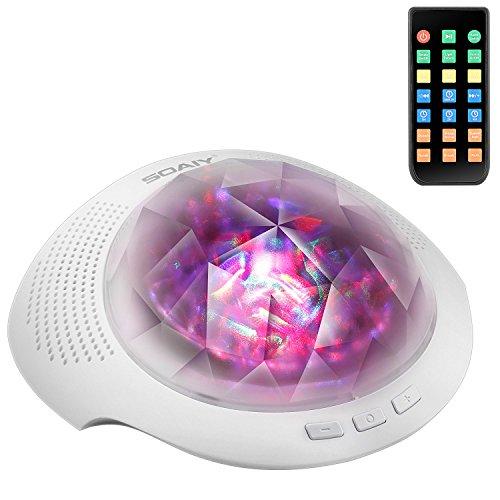 [neue Version] SOAIY Bluetooth LED Farbwechsel Nachtlicht Projektor Lampe mit Naturgeräusche zur Entspannung Polarlicht Einschlaflicht mit Fernbedienung Timer für Schlafzimmer Kinderzimmer Weiß -