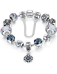 Wostu amor segura plateado aleación azul cadenas-plata cristales flores-remolque-igrec-cristal de Murano encanto-cuentas