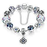 Wostu Love Safe Chain Silver Plated Blue Crystals Flower Pendants European Charm Beaded Bracelets