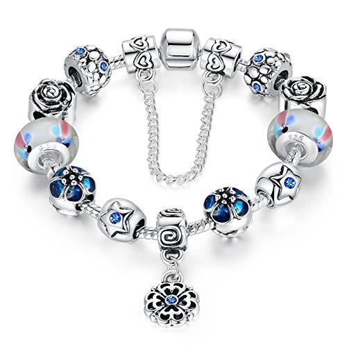 Catena wostu amore sicuro placcato argento blu cristalli fiore pendenti accessori lampwork di fascino ha bordato il braccialetto