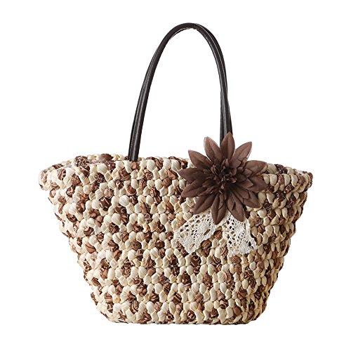 donne ragazze stile pastorale spiaggia fiore buccia di mais sacchetto di spalla tote bag Borsa a tracolla Borse a mano, rosso Marrone