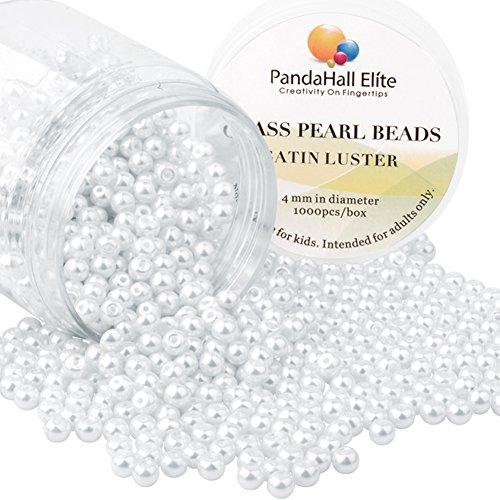 Pandahall elite 1000pcs perline vetro perlaceo rotonde perline perla tinte 4mm di diametro colore bianco