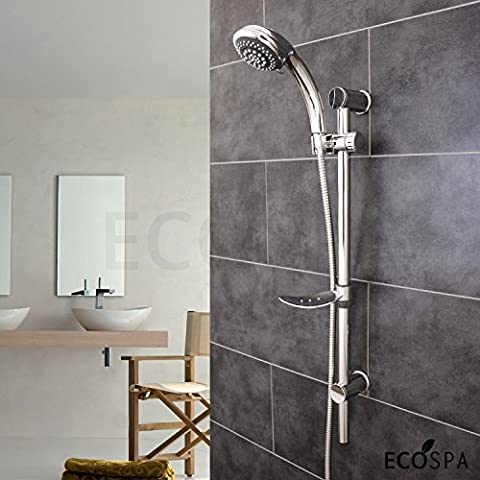 EcoSpa® Swift Modern Universal Chrome Shower Kit with Adjustable Riser Rail and 6 Mode Handset