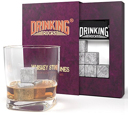 Whiskey Stones Gift Set. Best Performing Granite Drink Rocks. Great Chilling Quality Si...