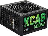 Aerocool KCAS600S - Fuente de alimentación gaming para PC (600W, ATX, 12V, PFC Activo, incluye ventilador 12 cm, 80 Plus Bronze, eficiencia + 85%, certificado Haswell Ready), color negro