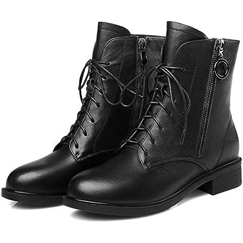 Zapatos de otoño/Tie-back con Martin botas mujeres/Bota mujer/ primavera botas mujeres/ botas de cuero mujer