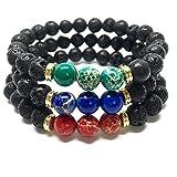 GOOD.designs Energiearmband aus Lavastein Naturperlen, Chakra Armband mit marmorierten Perlen in Verschiedenen Farben