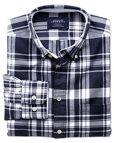Extra Slim Fit Oxfordhemd in marineblau und weiß mit Karos blau (Knopfmanschetten Cuff)