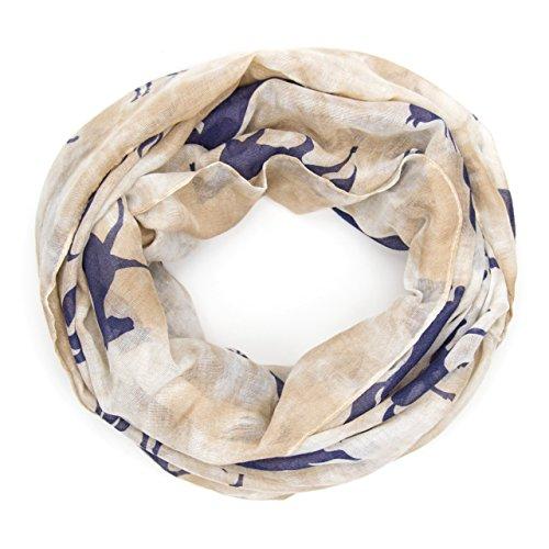 ManuMar Loop-Schal für Damen | Hals-Tuch mit Pferde-Motiv als perfektes Sommer-Accessoire | Schlauch-Schal in Blau Braun - Das ideale Geschenk für Frauen