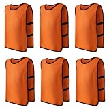 Panegy 6x Sport Leibchen für Fußball Basketball Markierungshemd Fußball Trainingsleibchen Fußballtraining Scrimmage Weste Trikots für Kinder in Orange