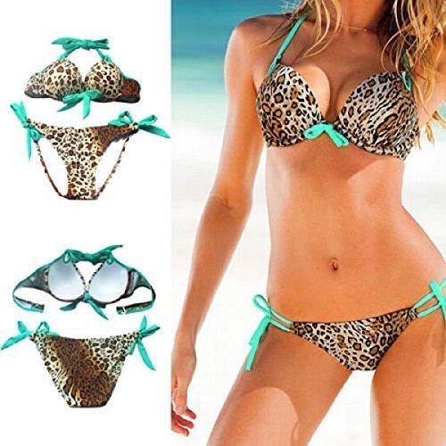 L&C Sexy Damen/Mädchen Bikini Satz Push-Up gepolstert Badeanzug Badeanzug Bademode - Mehrfarbig - Leopard green, Large (Green Leopard)