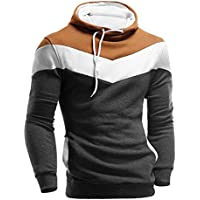 Männer Kleidung Loveso Herbst Sweatshirt Stitching Farbe Herren Kapuzenpullover Winter Langarm Slim Fit Hooded Casual Sports Pullover Streetwear