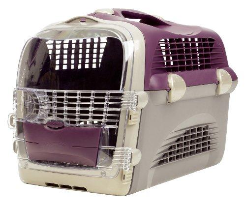 katzeninfo24.de Catiti Pet Cargo Cabrio, Transportbox, weinrot- grau