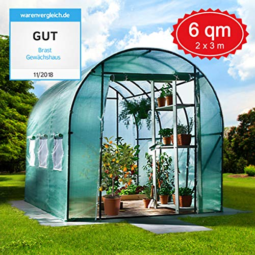 BRAST Foliengewächshaus Gewächshaus mit Stahlfundament 200x300cm 6m² schwere Qualität Spezial-Gitternetzfolie 175g/m²