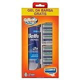 Gillette Fusion Lamette di Ricambio per Rasoio, Confezione da 7 Testine con Gel Series 200 ml in Omaggio