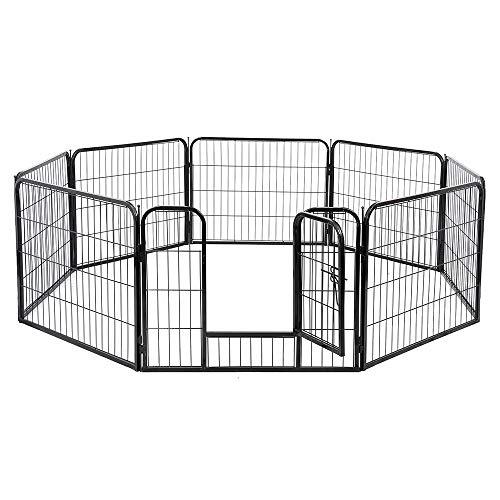 E-starain recinto metallica pieghevole per cani, gabbia in ferro per cani, recinzione per animali domestici 10 pezzi, 81 * 77cm