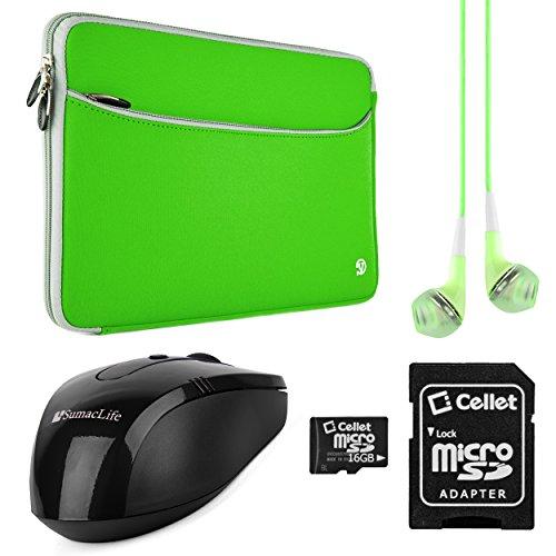 "Vangoddy Green & Gray Trim VanGoddy Neoprene Sleeve for Toshiba 12.5 to 13.3"" Laptops + Green Headphones + 64GB Memory Card + USB Mouse"