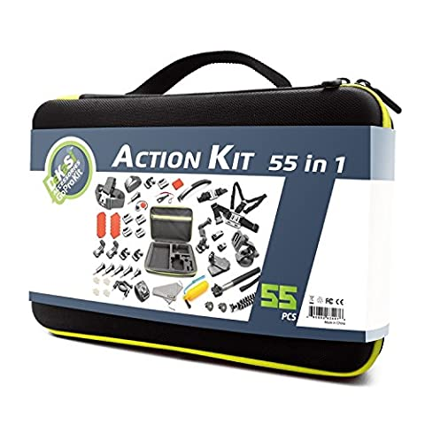 DeKaSi Accessoires Kit pour Gopro HERO 5/4/3 Black Silver Session (55-IN-1)