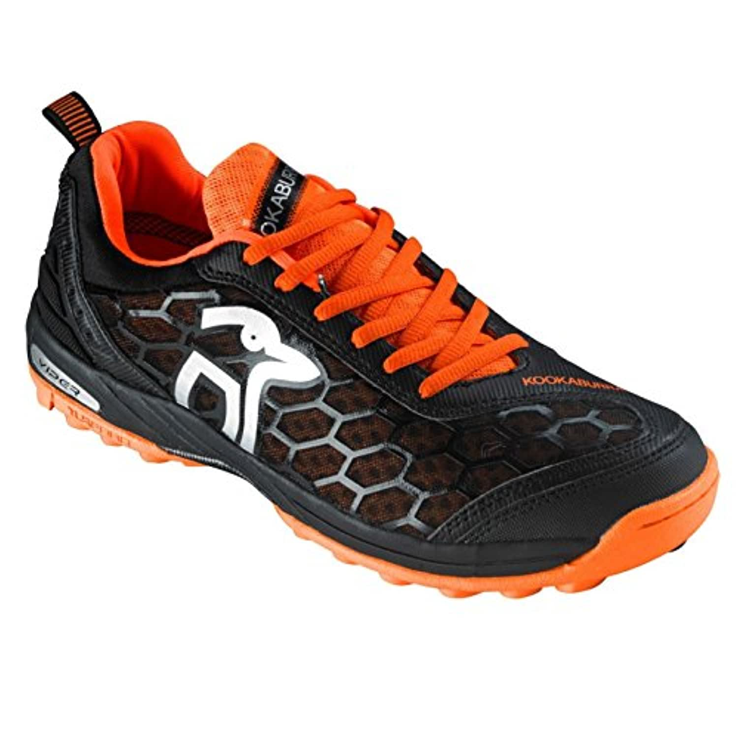 Kookaburra Viper Hockey Shoes Juniors Black/Orange Astro Turf Trainers Sneakers (UK 4) (EU 37)