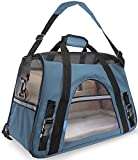 "OxGord Pet Carrier Soft Sided Cat / Dog Comfort ""FAA Airline Approved"" Travel Tote Bag - 2018 Newly Designed, Small, Mineral Blue"