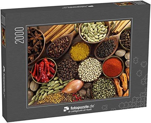 fotopuzzle.de Puzzle 2000 Teile Gewürze und Kräuter in Metallschalen und Holzlöffeln. Lebensmittel und Zutaten für die Küche (1000, 200 oder 2000 Teile)