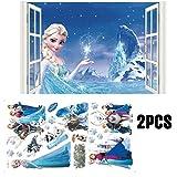 Kibi 2PCS Frozen Disney Stickers Muraux Reine des Neiges Salon Amovible Stickers Mural Elsa, Chambre Bebe Autocollants Frozen, Stickers Muraux Chambre Enfant Fille Princesse