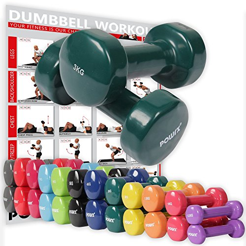 POWRX Vinyl Hanteln Paar Ideal für Gymnastik Aerobic Pilates 0,5 kg - 10 kg I Kurzhantel Set in versch. Farben (2 x 3 kg (Dunkelgrün))