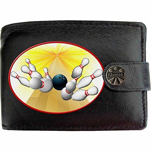 Bowling Ball Bowling Kugel 10 Pin Klassek Herren Geldbörse Portemonnaie Brieftasche aus echtem Leder schwarz Geschenk Präsent mit Metall Box
