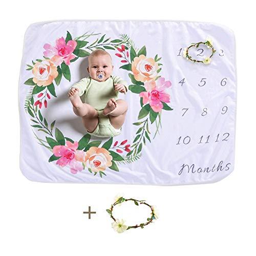 Fotohintergrund Decke, Dsaren Baby Meilenstein Decke Gedruckt Fleece Swaddle Blanket Foto Requisiten mit Blumenkranz, Beste Geschenk für Babyparty (Kranz)