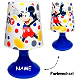 alles-meine.de GmbH LED Tischlampe -  Disney - Mickey Mouse  - inkl. Name - mit Farbwechsel - Ba..
