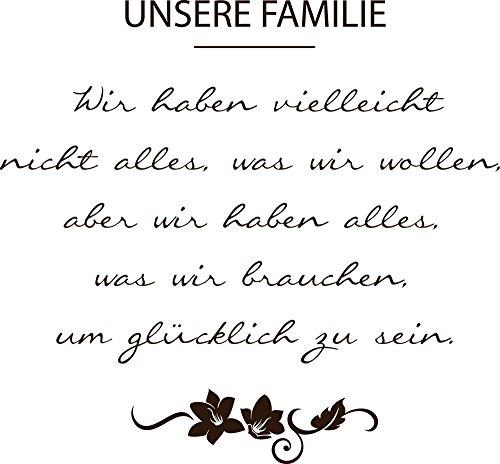 GRAZDesign 300128_57_WT080 Wandtattoo Unsere Familie ist. mit Blumen | für Wohnzimmer | Wand-Sprüche Selbstklebend (62x57cm//080 Braun)