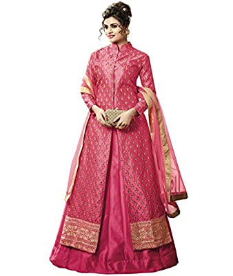 Indian Ethnic Satin Silk Dark Pink Abaya Suit Readymade
