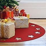Weihnachtsbaumdecke rot aus Filz - Sternenkranz - zum Schutz für den Boden - 99 cm Durchmesser - Wall-Art