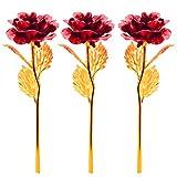 Apical Life 3 Packs 24K Goldfolie Giled Rose, künstliche Blumen, Valenines Tag, Muttertag, Geburtstag, Dankeschön-Tag, für Ihre Liebe