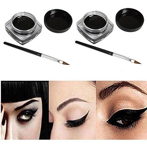 LHWY 2 Piezas Mini Delineador de ojos Gel Crema Con Pincel Maquillaje Cosmético Vida Negro Impermeable Eye