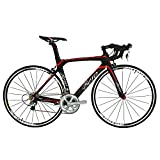 BEIOU 2016 700C Rennrad Shimano 105 Bike 5800 11S Rennrad T800-M40 Carbon Aero-Rahmen Ultra-light 18.3lbs CB013A-2 (Matte Black&Red, 520mm)