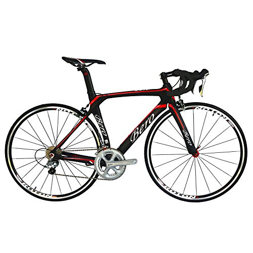 BEIOU® 2016 700C Rennrad Shimano 105 Bike 5800 11S Rennrad T800-M40 Carbon Aero-Rahmen Ultra-light 18.3lbs CB013A-2 (Matte Black&Red, 540mm) (Carbon Road Racing Bike)