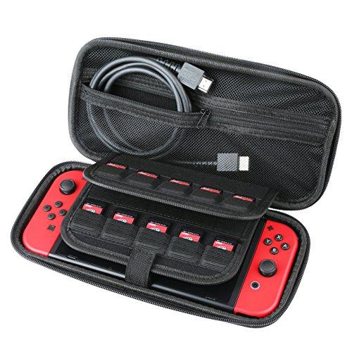 BIFY Switch Tasche Case.Große Harte Aufbewahrungs Wasserabweisend Hülle Case für Nintendo Switch Console Switch Spiele und anderes Nintendo Switch Zubehör Schwarz.9.8*4.72*1.96Inch