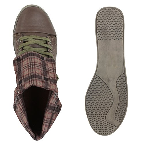 Damen Sneakers High Karo Muster Bequeme Schuhe Schnürer Khaki