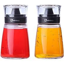 Dispensadores de aceite y vinagre Cruets (171G–cristal para aceite y vinagre con tapas de sellado–2pc Set
