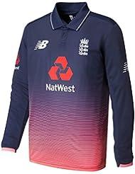 New Balance Inglaterra réplica ODI de críquet de manga larga camiseta, Azul