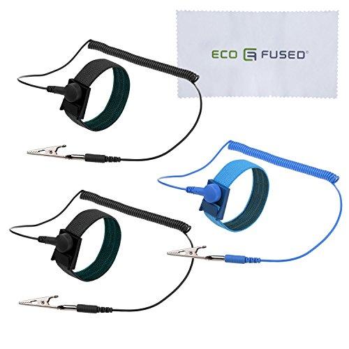 Antistatische Armbänder - 3-er Pack - wiederverwendbare antistatische Armbänder mit Erdungskabel und Krokodilklemme - Ermöglicht Ihnen, sich während der Arbeit an empfindlicher Elektronik zu erden (2x Schwarz + 1x Blau, 3-er Pack)