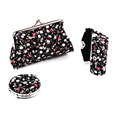 Ezeso Set of 3 Floral Cosmetic Organizer Mirror Lipstick Case Set, Women's Embroidery Coin Purse Holder Storage Gift Kit (Black)