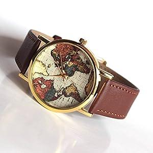 Vintage Mapa del Mundo Hombres Mujeres Reloj de Cuarzo