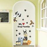 Pegatina familia perruna para clinicas veterinarias comercios o casa 80 x 45 cm de OPEN BUY