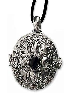 Ovaler Gift Anhänger Onyx zum öffnen 925er Silber Schmuck mit Lederhalsband 118