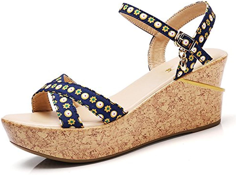 Summer Print Sandalias Romanas Femeninas Plataforma Impermeable Boca de Pescado Zapatos de Cuña de Ocio (Color...
